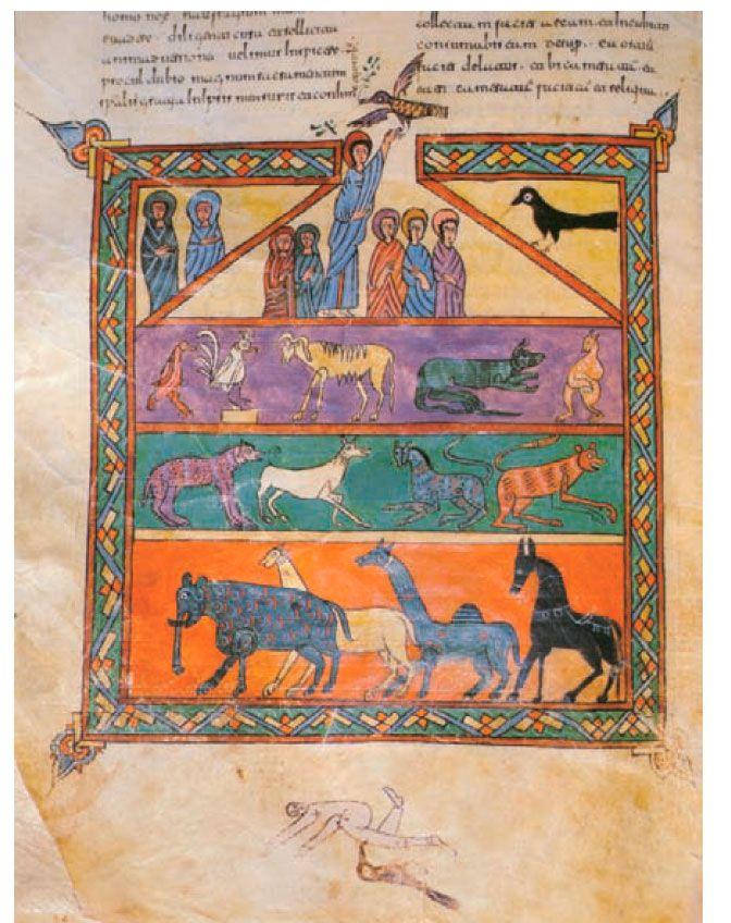 Llegada de la paloma con una rama de olivo en el pico, ilustración del Beato de la Seo de Urgel, de finales del siglo X